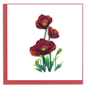 Red Poppies Quilling Card
