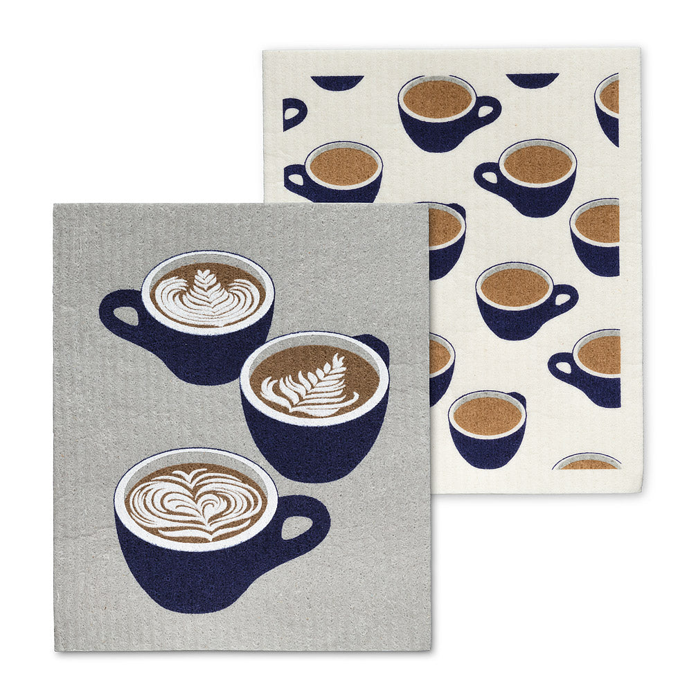 Coffee Cups Sweedish Dishcloth