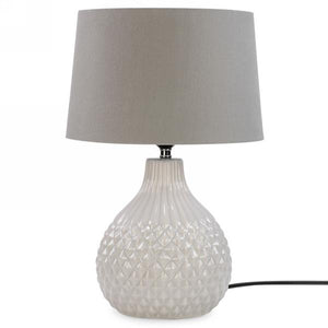 Cross Hatch Table Lamp, Grey