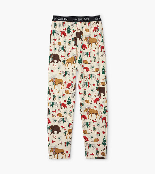 Hatley Woodland Winter Men's Jersey Pajama Pants