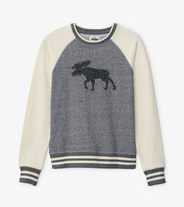 Hatley Marled Grey Moose Women's Heritage Pullover