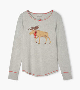 Hatley Moose on Grey Ladies Top