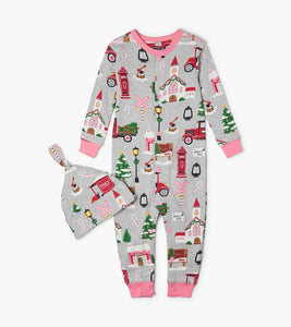 Hatley Christmas Village Baby Coverall with Hat
