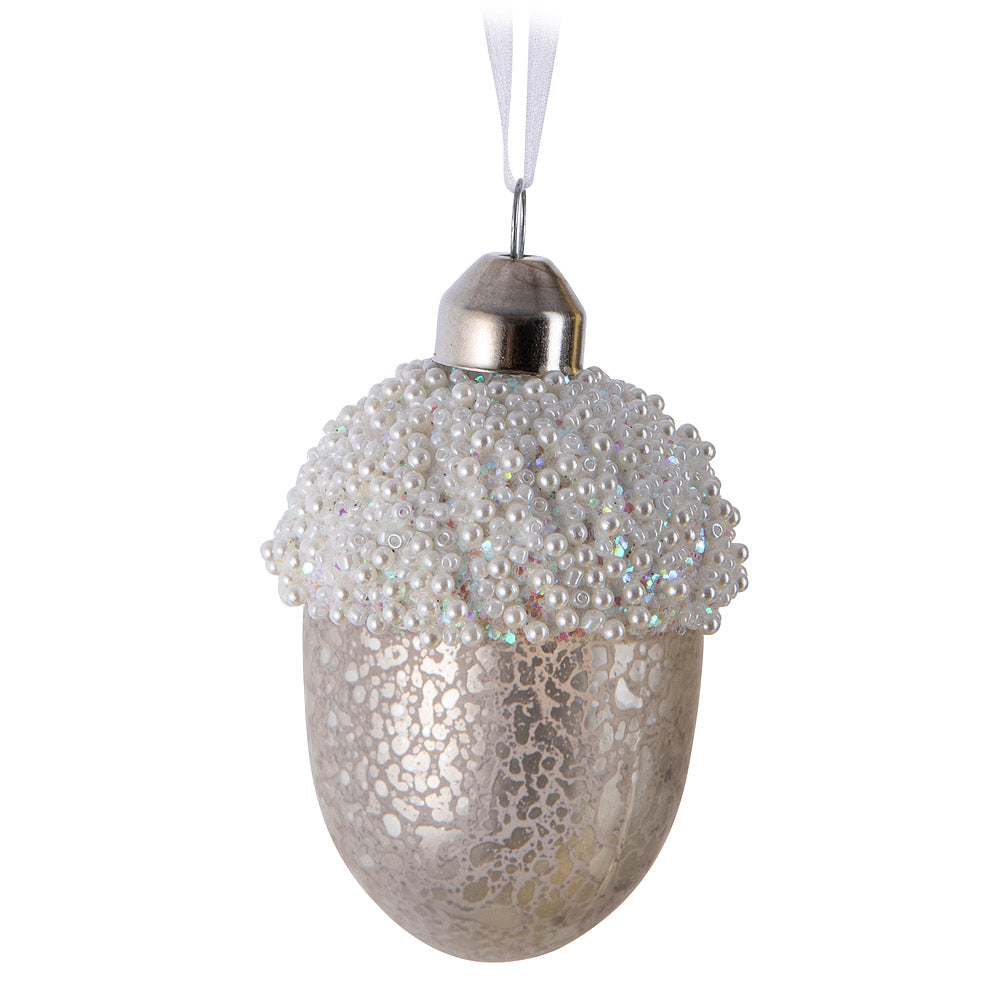 Frosted Acorn Ornament