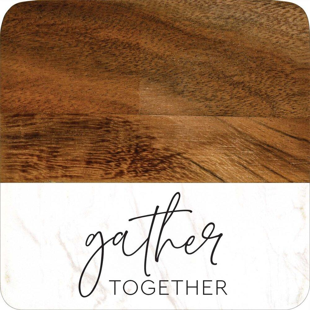 Gather Together Acacia & Marble Coaster Set 4
