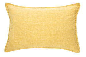 Yellow Stone Wash Linen Cushion