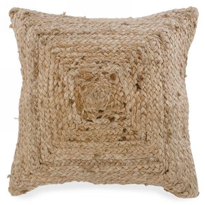 Jute Cushion with Braided Motif