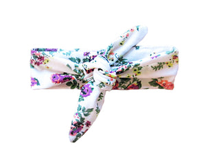 Baby Wisp - Top Knot Headband White Floral Print
