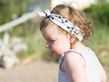 Load image into Gallery viewer, Baby Wisp - Top Knot Headband White w/ Black Geometric