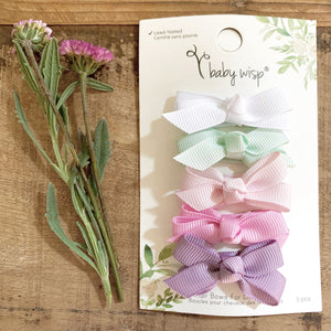 Baby Wisp Chelsea Bows 5pk Snap Clip Scent of Spring