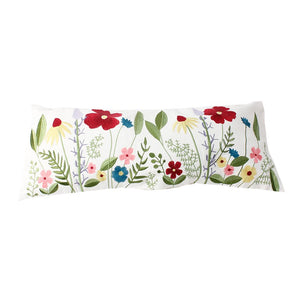 Embroidered Floral Lumbar Cushion