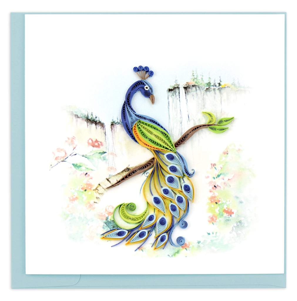 Posing Peacock Quilling Card