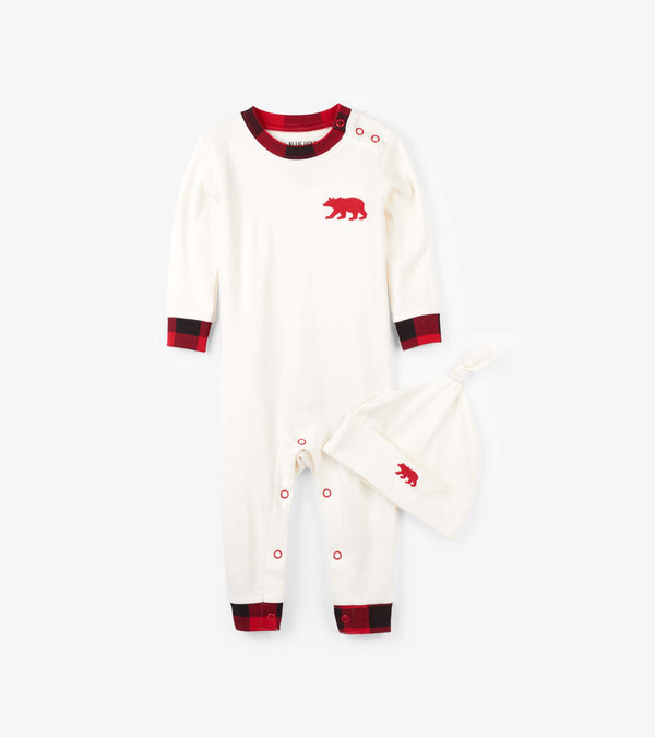 Hatley Buffalo Plaid Baby Coverall with Hat