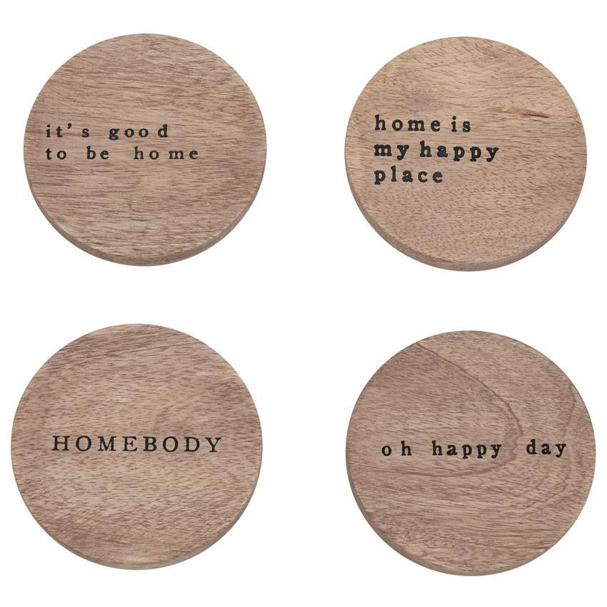 Happy Home Wood Coaster Set