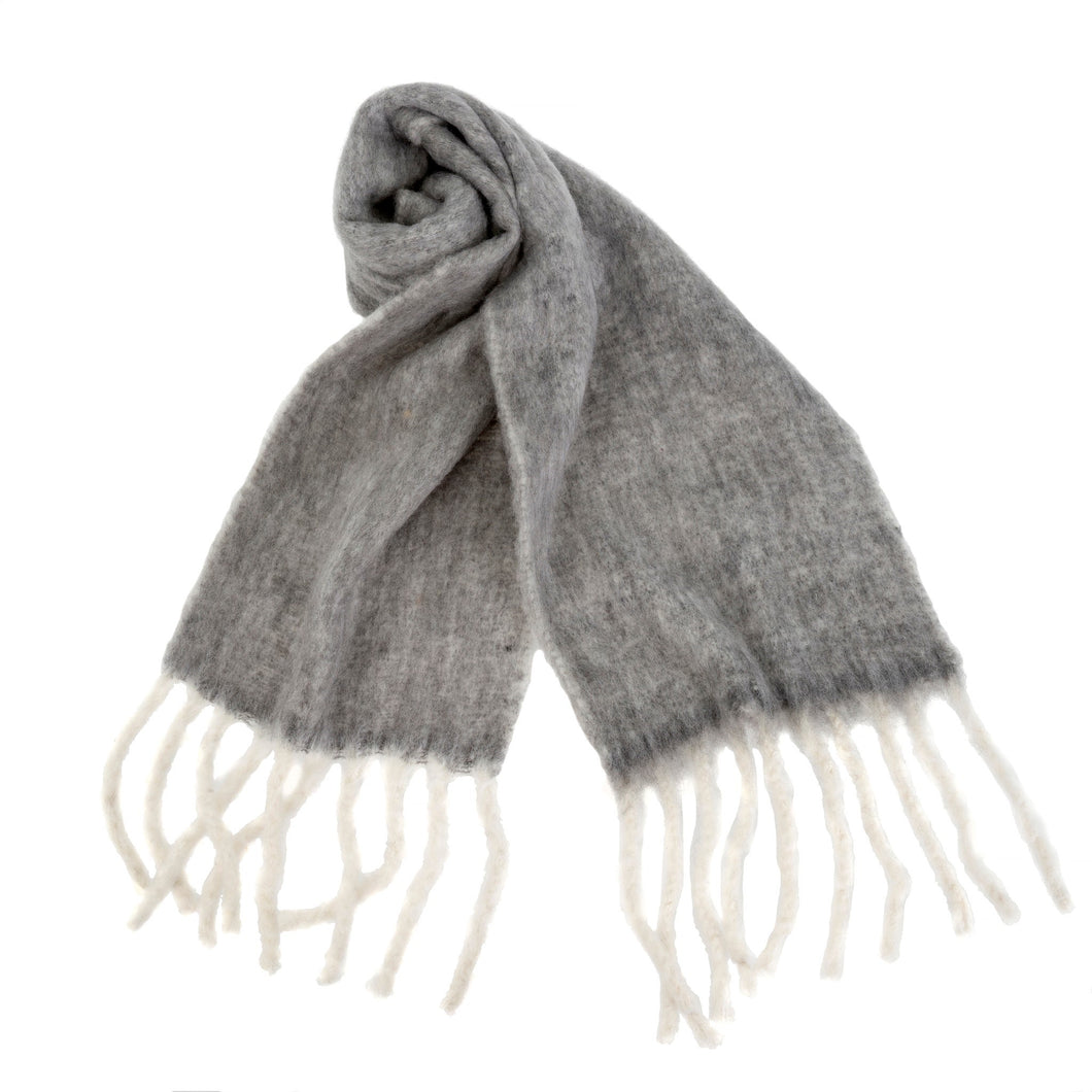 Fringed Blanket Scarf, Dark Grey
