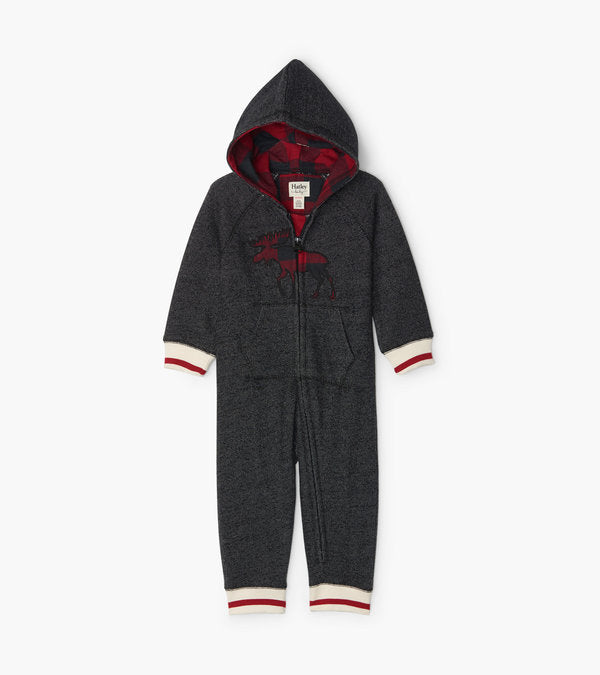 Hatley Buffalo Plaid Moose Baby Heritage Hooded Romper