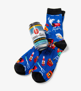 License To Grills Mens Beer Can Socks