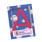 Baseball Alphabet Note Cards, set of 6 blank cards with envelopes
