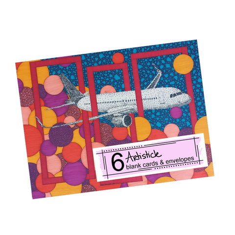 Airbus Note Cards, set of 6 blank cards with envelopes