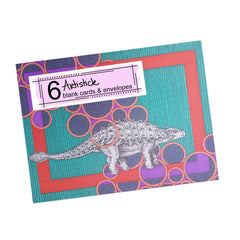 Ankylosaurus Note Cards, set of 6 blank cards with envelopes