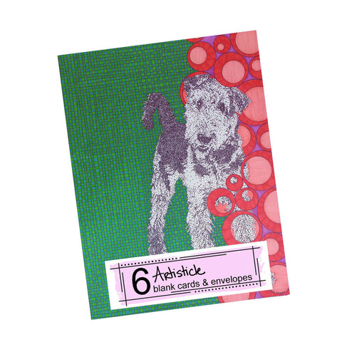Airedale Terrier Note Cards, set of 6 blank cards with envelopes