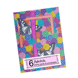 Butterfy Alphabet A-Z Note Cards, set of 6 blank cards with envelopes