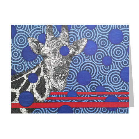 Blue Giraffe 5x7 Greeting Card