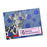 Blue Giraffe Note Cards, set of 6 blank cards with envelopes