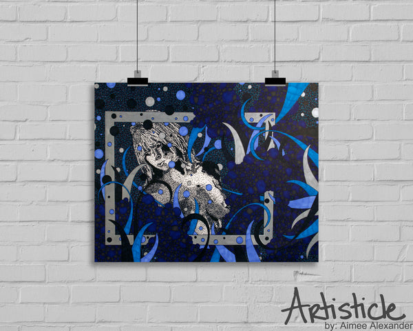 Blue nude signed art print