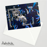Blue Note Cards, set of 6 blank cards with envelopes