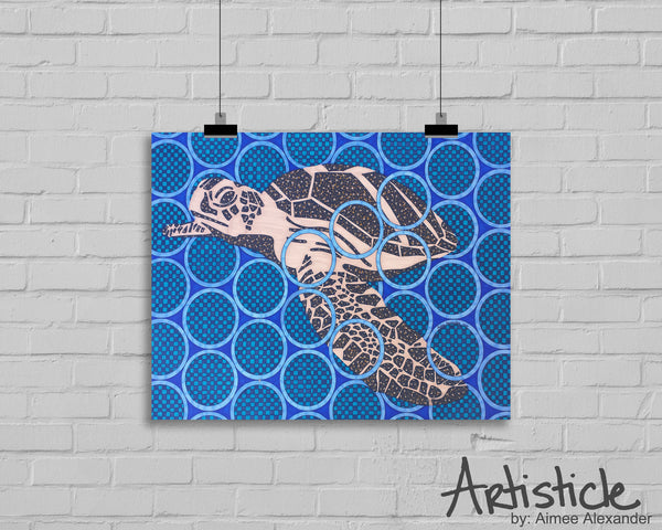Brown Turtle signed art print