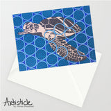 Brown Turtle Note Cards, set of 6 blank cards with envelopes