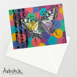 Candied Butterfly note cards, set of 6 blank cards with envelopes