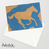 Checkers Horse Note Cards, set of 6 blank cards with envelopes