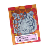 Citrus Tiger Note Cards, set of 6 blank cards with envelopes