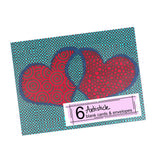 Double Heart Note Cards, set of 6 blank cards with envelopes