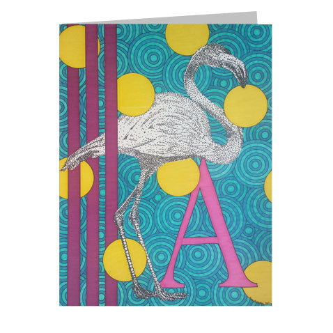 Flamingo Alphabet 5x7 Greeting Card