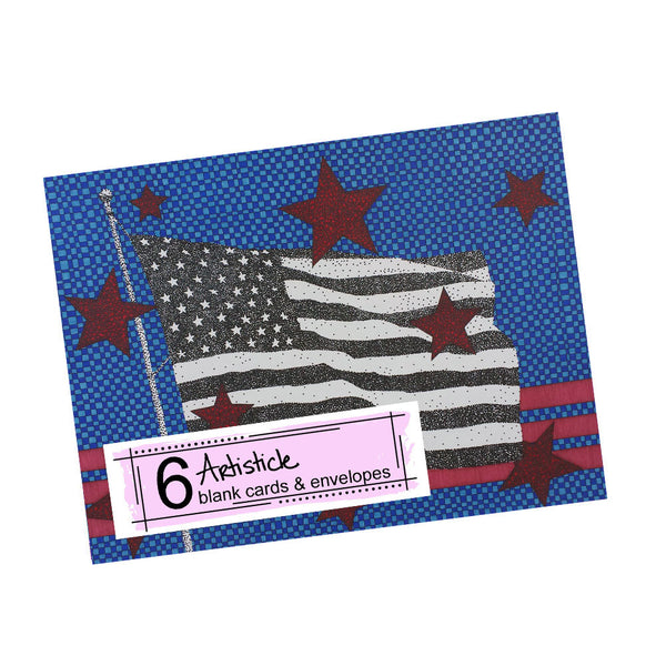 Flag Note Cards, set of 6 blank cards with envelopes