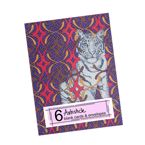 Fancy Tiger Note Cards, set of 6 blank cards with envelopes