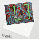 Green Butterfly Note Cards, set of 6 blank cards with envelopes