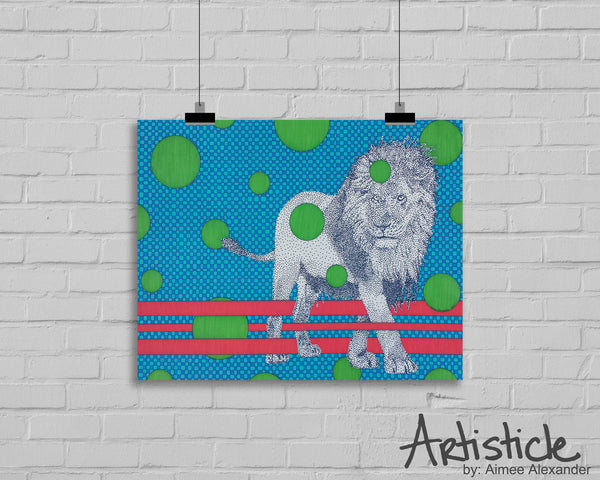 Green Lion Signed Art Print