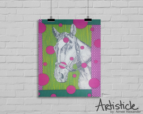 Horse Face Signed Art Print