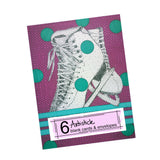 Ice Skate Note Cards, set of 6 blank cards with envelopes