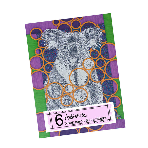 Koala Bear Note Cards, set of 6 blank cards with envelopes