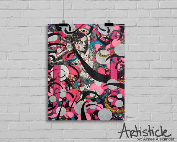 Lady In Pink nude signed art print