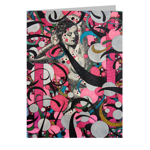 Lady In Pink 5x7 Greeting Card
