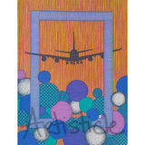 Airplane Landing Note Cards, set of 6 blank cards with envelopes