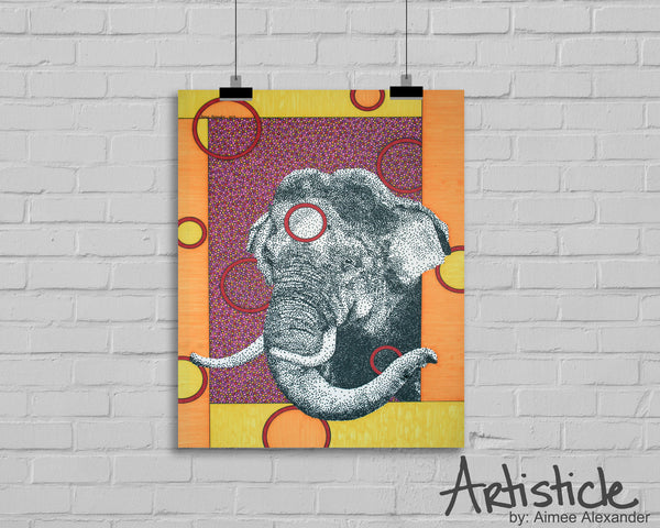 "Elephant ""Mr. Tuskerson"" signed art print"