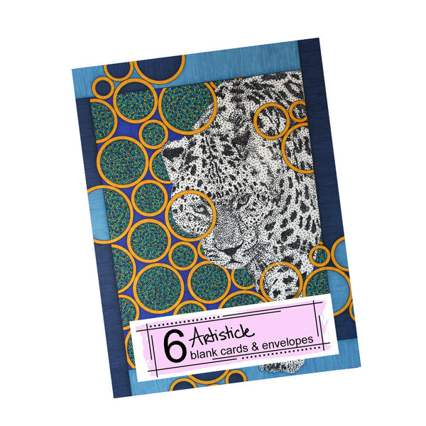 Navy Jaguar Note Cards, set of 6 blank cards with envelopes
