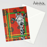 Orange Giraffe Note Cards, set of 6 blank cards with envelopes